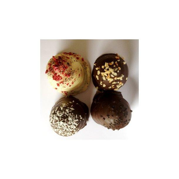 4 stk Luksus Flødeboller, blandet - fra CHOKOLADEKURVEN Thisted