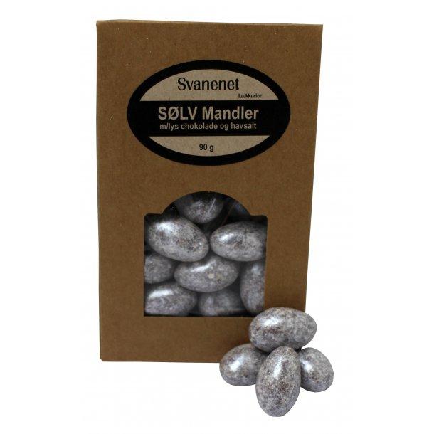 Sølv Mandler m. lys chokolade og havsalt